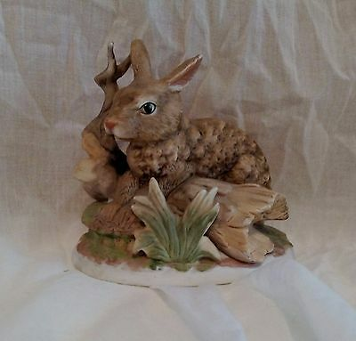 Porcelain Brown Bunny Rabbit on a Log by HOMCO #1411