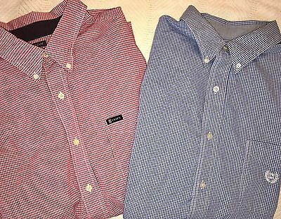 *Lot of 2!* CHAPS Men's Shirts, Both Size XL, Button Down, Red & Blue, Classy