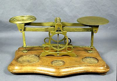 Antique Victorian Postal Scale PERRY + CO Brass  Made England Wood Base