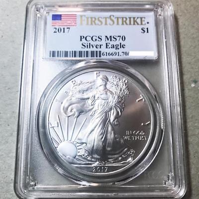 2017  American Silver Eagle 1$   Pcgs Ms70 First Strike