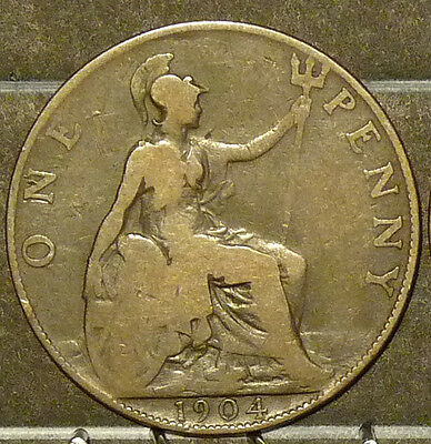 1904 Great Britain Large Penny  Coin     F99