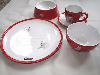 NEW Cesar Dog West Highland White Terrier Promotional Ceramic Cup Plate Bowl Set