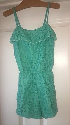 Girls Xhilaration Mint Blue Lace Shorts Romper Tank Small Spring summer Floral