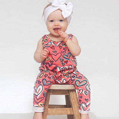 Newborn Infant Baby Girls Outfit Romper Jumpsuit Sleeveless Floral Print Kids AU