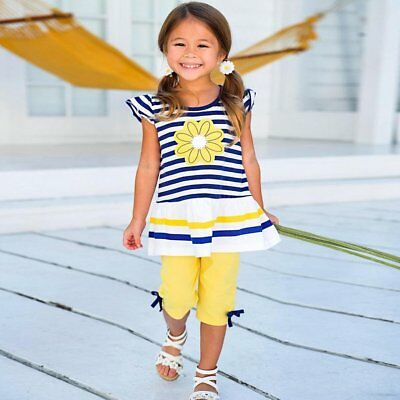 Kids Baby Girls Sumemr Floral T-shirt Tops +Shorts 2pcs Children Casual Outfits
