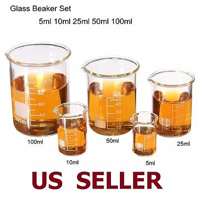 1Set Low Form Glass Beaker 5 10 25 50 100ml Borosilicate Measuring Lab Glassware