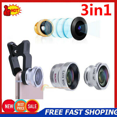 Universal 3in1 Clip On Fish Eye+Wide Angle+Macro Camera Lens Kit for Smart Phone