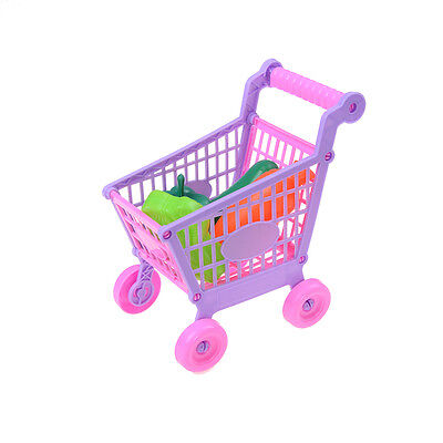 Kids Childrens Shopping Trolley Cart Role Play Set Toy With Plastic Fruit FoodMS