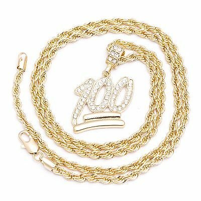 Men's New Gold Plated Emoji 100 Iced Out Pendant Diamond Cut Rope Chain Necklace
