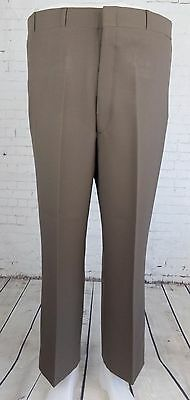 "Vtg 1980s Brown Tapered ""Higgins Slacks"" Poly Trousers USA W38 EC80"