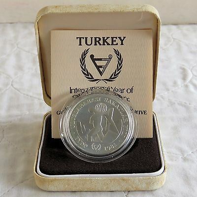 TURKEY 1981 INTERNATIONAL YEAR OF THE DISABLED SILVER 3,000 LIRA - boxed/coa