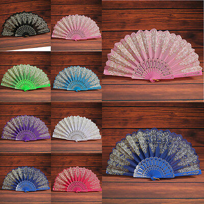 Classical Floral Fabric Fan Lace Folding Hand Dancing Wedding Party Decor Gift