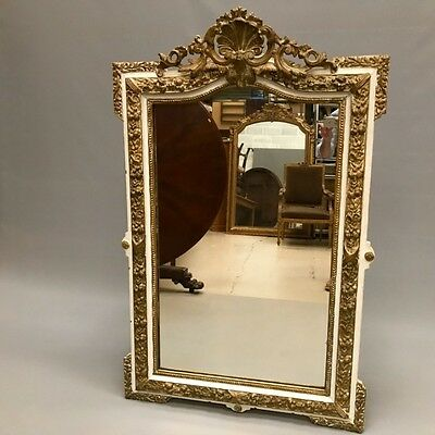 Antique French paint and gilt mirror