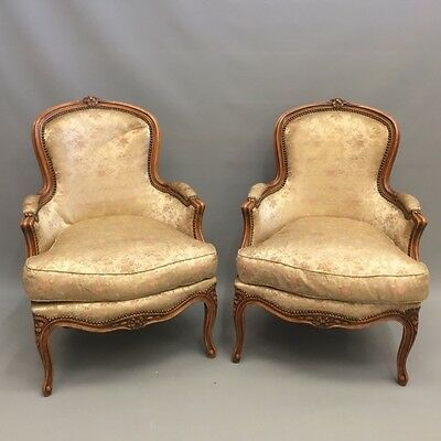 Pair of Antique French tub back armchairs