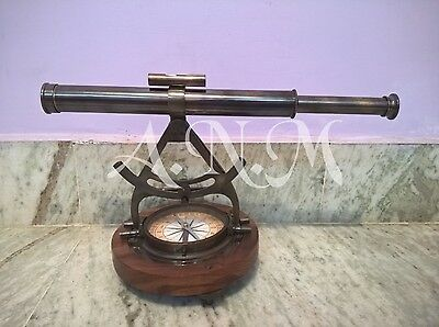 Alidade Telescope With Compass Nautical Brass Marine Collectible Gift Item