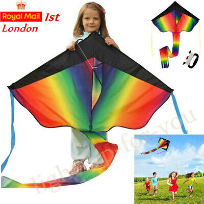 UK Huge Rainbow Kite 100M String For Kids Fun Outdoor Beach Summer Games