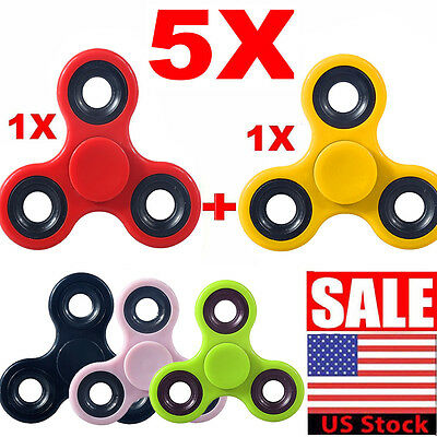 5PC Tri Spinner Fidget Finger Baby Toy Spin Stress Hand Desk Toy EDC ADHD Autism