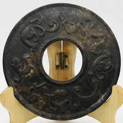Chinese hand carved jade stone (black magnet) round Chi dragon disc Bi D223