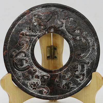 Chinese hand carved jade stone (black magnet) round Chi dragon disc Bi D230