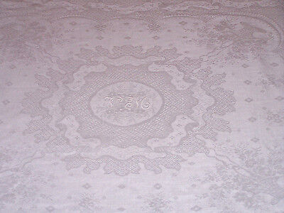 "FINE VINTAGE DAMASK LINEN TABLECLOTH, TABLE TOPPER, ""VM"" MONOGRAM, 31"" c1920"