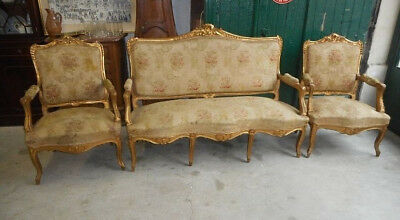 Salon Louis Xv Rocaille Dore 3 Pieces