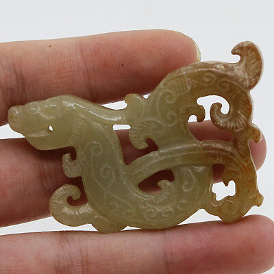 Chinese hand carved jade openwork amulet pendant shape of dragon phoenix D226