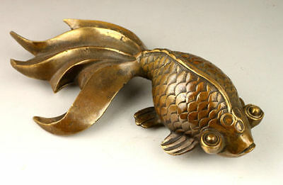 Chinese Old Collectable Handwork Decoration Copper Lovely Goldfish Statue