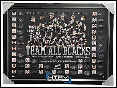 All Blacks Signed 2015 World Cup Champions Team Official Lithograph Framed + Coa