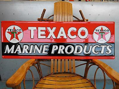 "HUGE 42"" TEXACO MARINE PRODUCTS sign MOTOR OIL GASOLINE embossed tin metal USA"