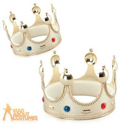 Gold Kings Crown Prince Jewelled Royalty Adult Child Fancy Dress Accessory New