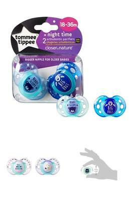 2 Count Tommee Tippee Closer To Nature Night Quality Pacifier 18-36 Months New