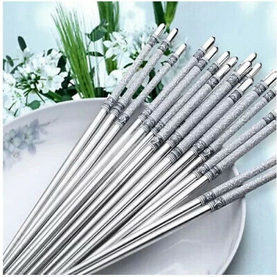 NEW  Blue & White Porcelain Pattern Stainless Steel Chopsticks Kitchen Tools