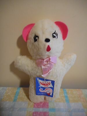 "Smile Novelty Toy Co Plush White Pink Bear Stuffed Toy Vintage 11"" Tall #568"