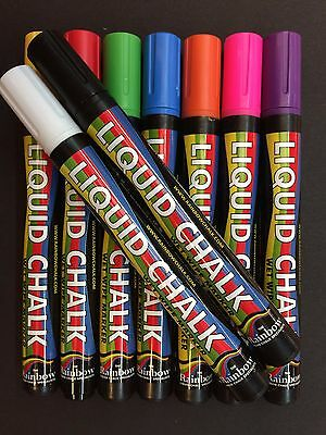 Rainbow Liquid Chalk Wet Wipe Marker Pen, 5mm Nib, for Chalk Boards, Glass etc.