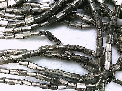 Vtg 500 SAPPHIRE SILVER LINED PILLOW SPACER GLASS BEADS 5X3.5 mm #051612n
