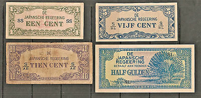 (4) Japanese Government -  Netherlands Indies occupation banknote