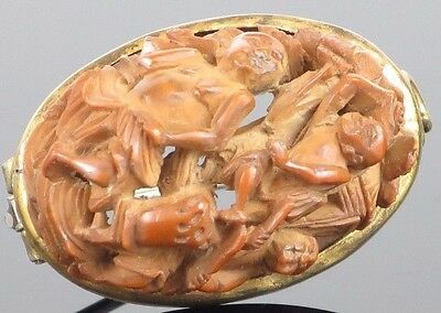 Museum Antique Chinese Carved Peach Pit/ Hediao Nut Brooch, Mid-Qing Dynasty, 3.