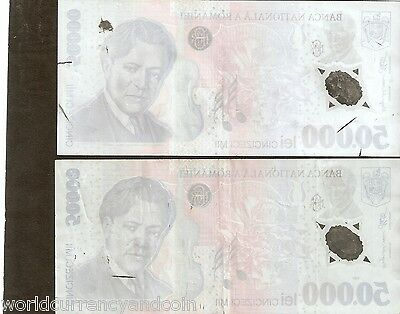 ROMANIA 1 5 50 50000 100,000 Lei POLYMER banknote with Major ERROR lot of 8 Note