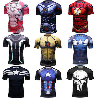 Men's Compression Marvel Superhero T Shirts Dri fit Workout Gym Costume Cosplay