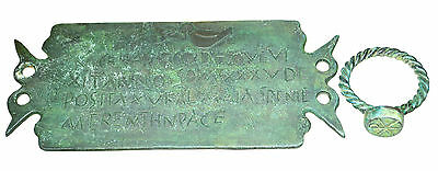 Roman Bronze Plate with Lettering & Roman Bronze Twisted Ring Set