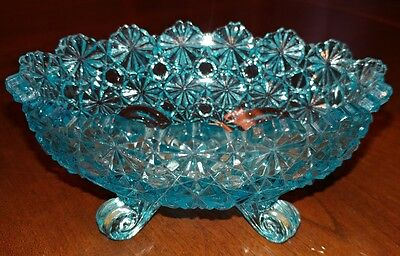 """Vintage 5"""" L G Wright Blue Glass Footed Oval DISH Candy Nut Bowl Daisy & Button"""