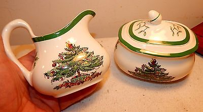 Vintage Spode Porcelain Christmas Tree Creamer + Sugar / England / Green Trim