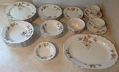 Vtg W S George China 38 Pc's Lido 460 Platinum Trim Roses Christmas Dinner Rare