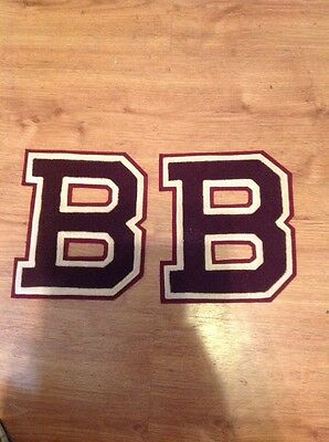 2 Varsity Letter B's Maroon and White 8 1/4 Tall
