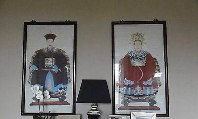 Pair Of Chinese Antique Old Ancestral Portrait Paintings