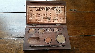 Antique / Vintage Chichester Chemical Pharmaceutical Apothecary Penny Weight Box