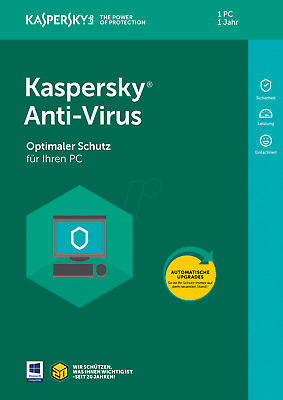 Kaspersky Antivirus 2018 1 Gerät / PC 1Jahr Vollversion Lizenz Key ESD Download