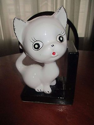 """Vintage Giftcraft  Adorable  White Cat, Kitten Ceramic Bookend 8"""" Tall ,"""