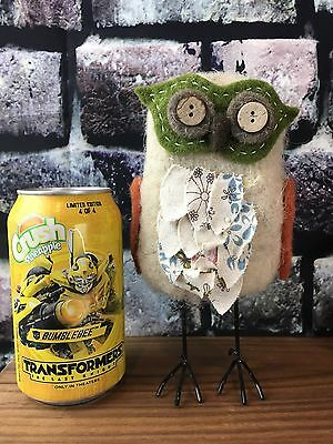 "Handmade Felted Wool Felt Animal Owl Standing Button Eyes Wire Legs 7.5"" Tall"