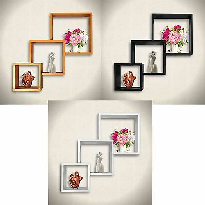 Set of 3 Cube Wall Mounted Floating Shelves Cd Dvd Book Display Holder Storage